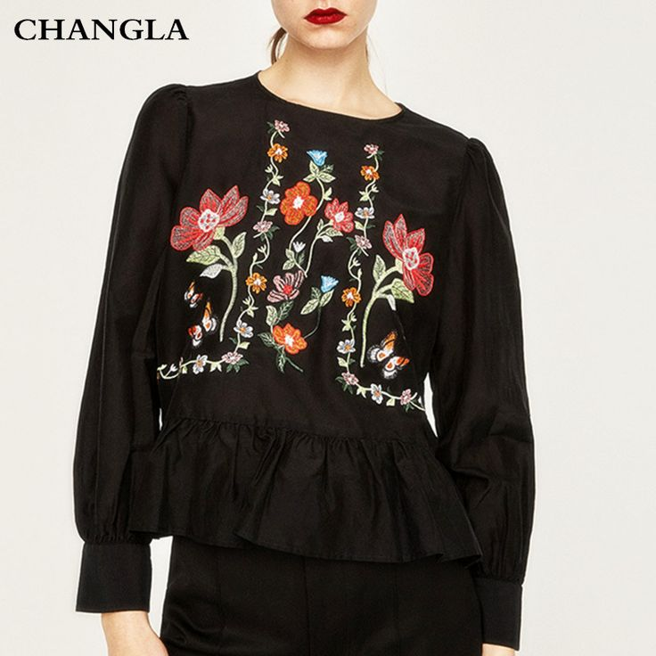 CHANGLA Fashion 2017 Blouse For Women Shirt Black White o neck Floral Embroidery Ruffles Long Sleeve Casual Brand Tops Blusas