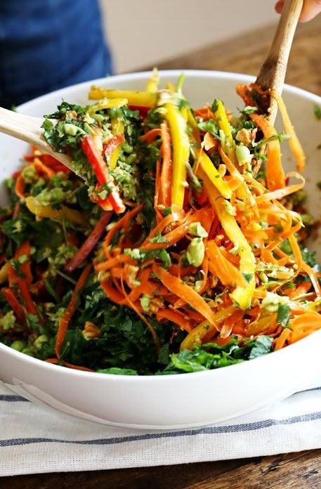 A rainbow of power veggies tossed with a simple made-from-scratch Thai dressing