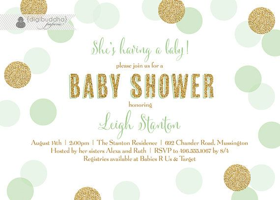 Mint & Gold Baby Shower Invitation Gender by digibuddhaPaperie