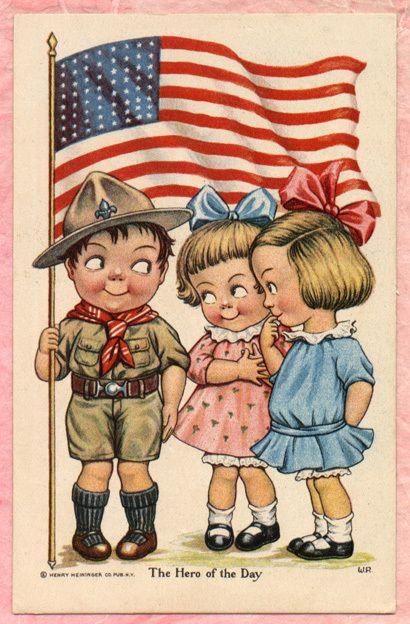 A s w Robinson Patriotic Fourth of July Postcard Boy Scout Ranger Postcard | eBay