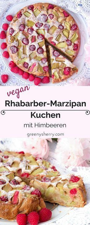 Veganer Rhabarber-Marzipan-Himbeer Kuchen - schmeckt wie bei Großmuttern❤️. Süß-säuerlich und fluffig-locker! www.greenysherry.com #rezept #DIY #rhabarber #marzipan #himbeer #kuchen #backen #vegan #vegetarisch #snack #süßes #frühling #sommer #kaffee #lecker #foodblog