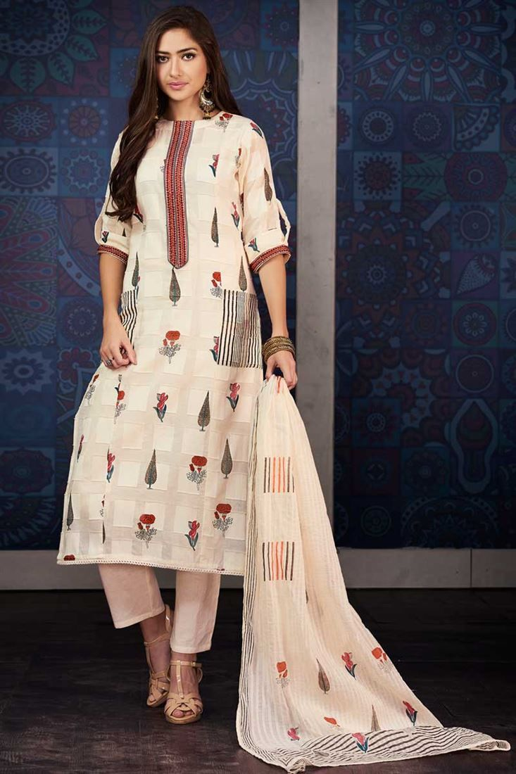 78a395124a Casual Wear Thread Work Chikoo Color Printed Designer Dress In Cotton