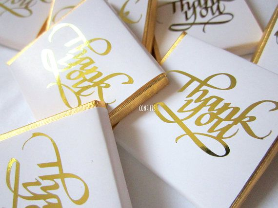 Personalised Chocolates Thank You white and gold luxury