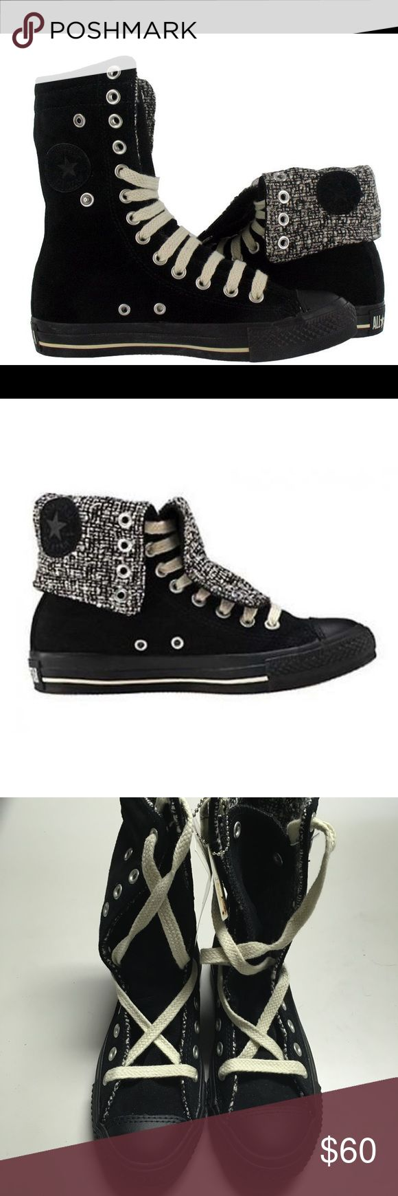 Converse Black Suede & Tweed X-Hi Sneakers BRAND NEW WITH TAGS & BOX. These originally cost $85 and are completely sold out from the Converse website. The exterior of these shoes are black suede and the interior features black and white tweed. These sneakers can be worn two ways and are very versatile. Everyone needs a pair of fashionable and functional Converse! The sizes are in Women's. Converse Shoes