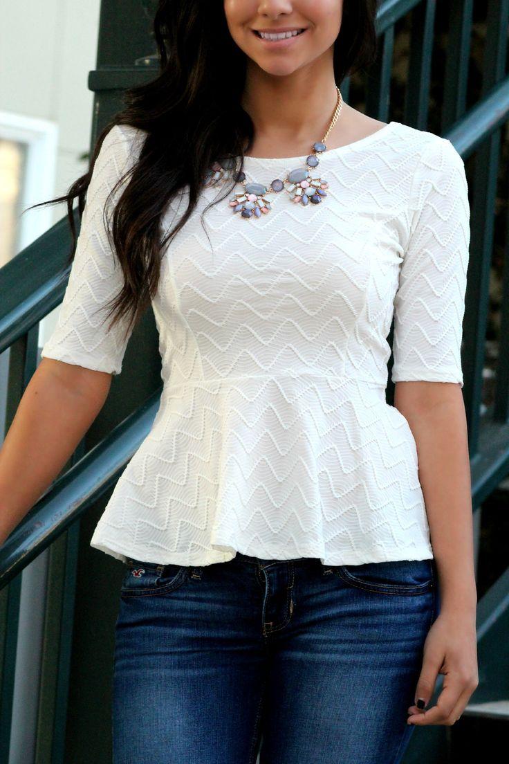 Sweetheart Peplum-White – Leah B. Boutique