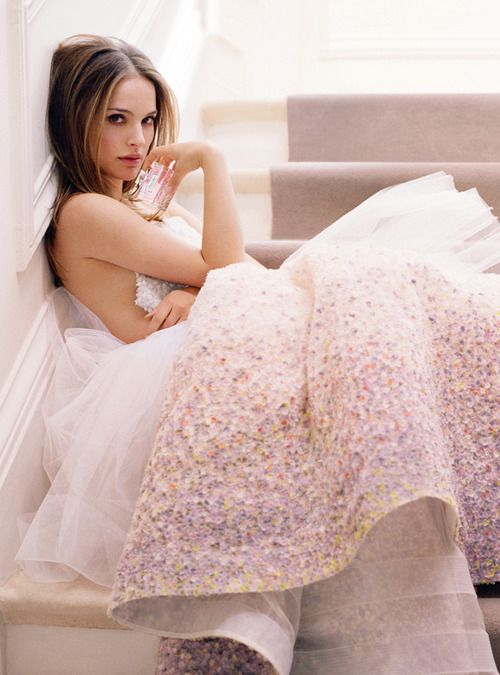 Natalie Portman photographed by Tim Walker for Dior's fragrance 'Miss Dior Blooming Bouquet' ad campaign, 2014.
