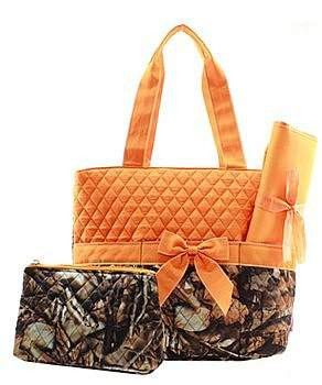 Camouflage Print Monogrammed Diaper Bag Orange Trim