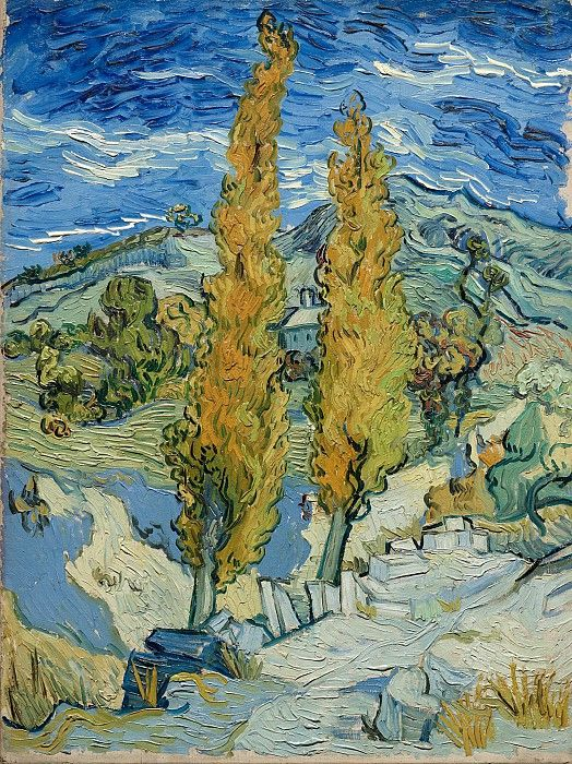 Two Poplars on a Road Through the Hills. Vincent van Gogh              The Cleveland Museum of Art, Cleveland. 1889/ 61.6 x 45.7 cm.