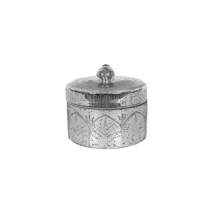 Mercury Glass Container with Lid - 3R Studios, Silver