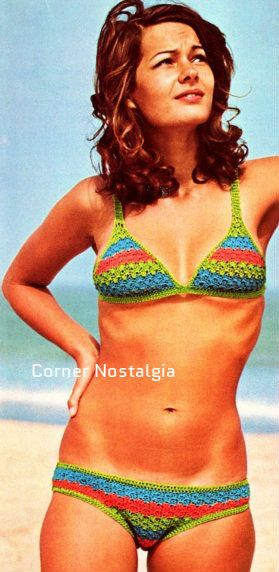 Crochet Pdf PATTERN crochet beachwear-Bikini vintage three colour  To fit a 36 inch hip.  Price is for the pattern only, not the finished…