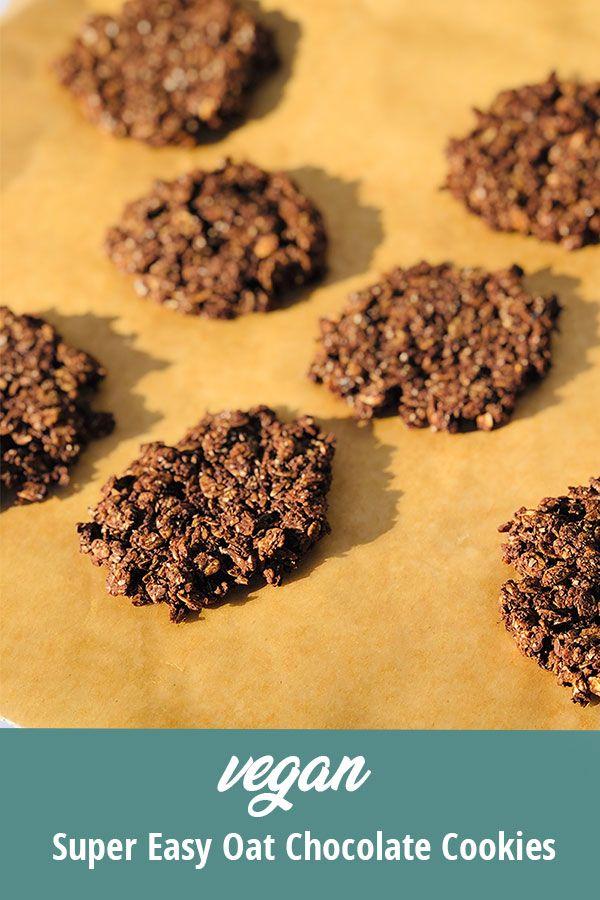 Super Easy Vegan Oat Chocolate Cookies