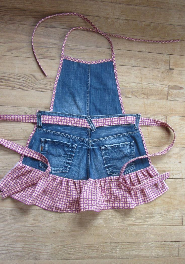 Tablier de cuisine en jean et coton violet à petites fleurs