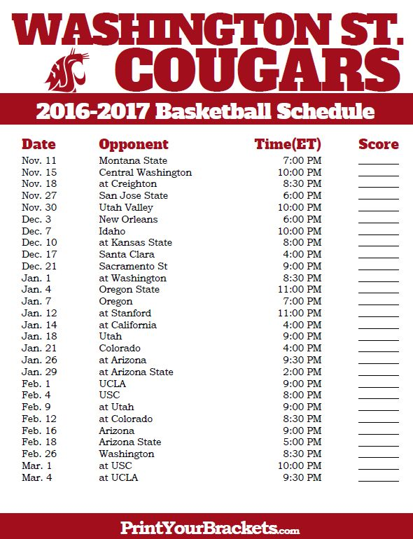 Washington State Cougars 2016-2017 College Basketball Schedule