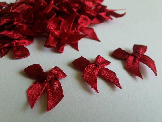 Red Burgundy Ribbon bows 100 tiny satin bow Applique