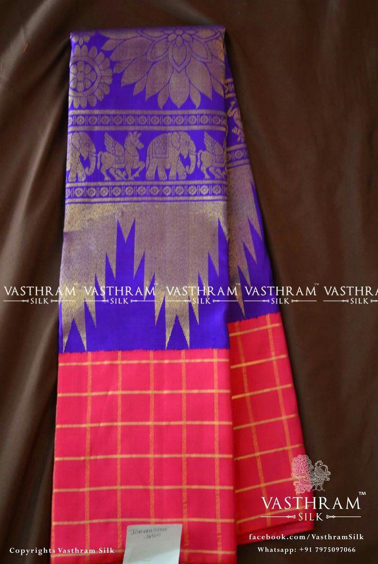 Pure kanchipuram silk   Cost: 34500 inr Whatsapp:  91 7019277192