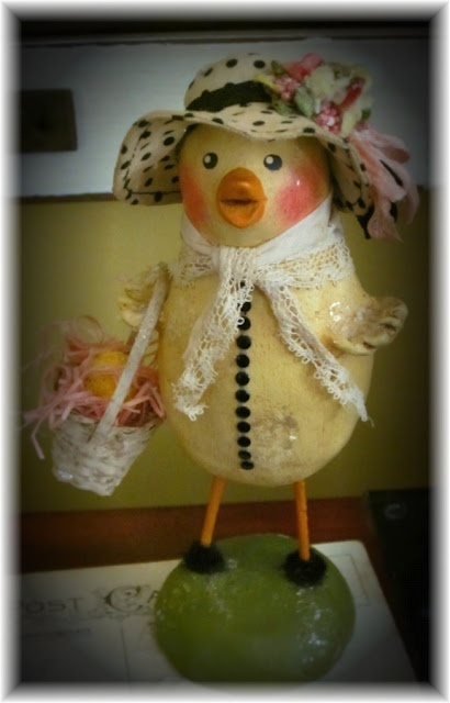 Nancy Malay ~ Chick1: Easter Bonnets, Chic Chick, Easter Bunnies, Easter Decor, Decor Items, Holidays Decor, Bunnies Trail, Easter Holidays, Paper Clay Mache
