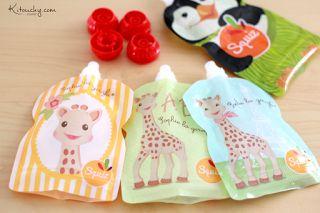 Kitouchy {Tibo,Liee &Malo}: Les gourdes Squiz : collection Sophie la Girafe