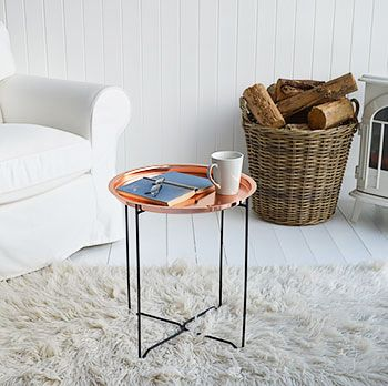 Our Greenwich small Copper coffee table. The White Lighthouse offers Living Room furniture and home decor in our unique style bring together Nordic, industrial and Coastal styles in one