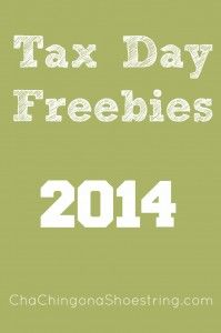 Tax Day FREE Stuff 2014 Looking for FREE stuff on Tax Day? Check out this long list of Tax Day freebies. Let me know if you find anything else! Tax Day Freebies and Deals 2014: Hard Rock Cafe: Participating locations will offer a FREE meal to people who stand up and sing in front of [...]