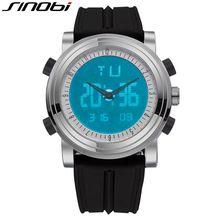 2016 SINOBI Fashion Silicone Sport Wrist Watch Men LED Display Double Digital Quartz Watch Relogio Masculino Gift SN35(China (Mainland))