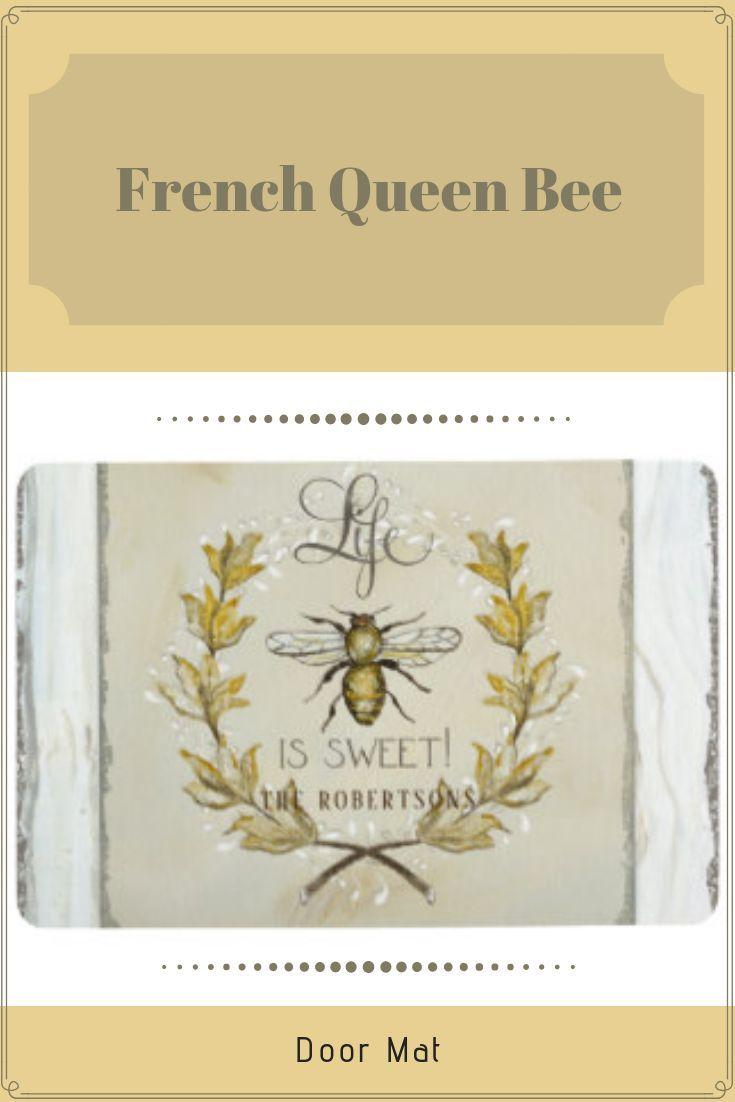 Rustic Farmhouse Honey Bee Laurel Leaf Wreath Art Floor Mat