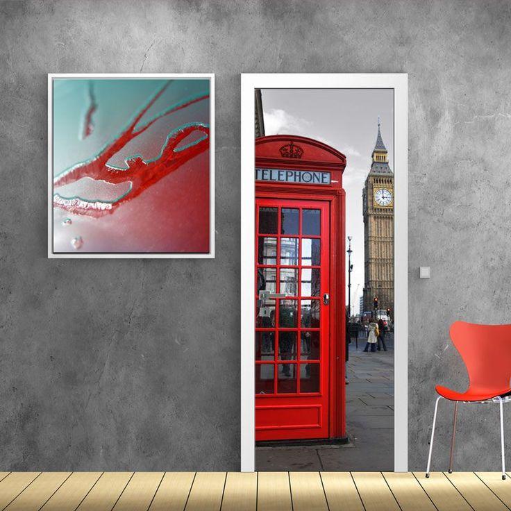 Αγγλικός+τηλεφωνικός+θάλαμος+,+ασπρόμαυρος+ουρανός,+αυτοκόλλητο+πόρτας