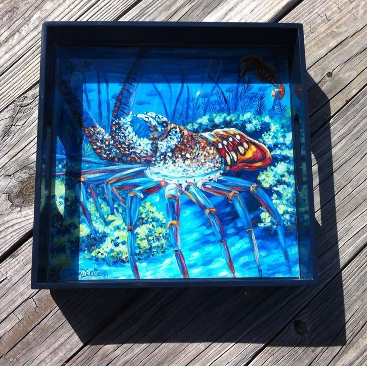 "Beautiful high gloss square trays featuring paintings by Danielle Perry Featured ""Lobster Season"" Size 12 x 12 x 2 $250 each Free shipping in Us Order through www.danielleperryfineart.com"