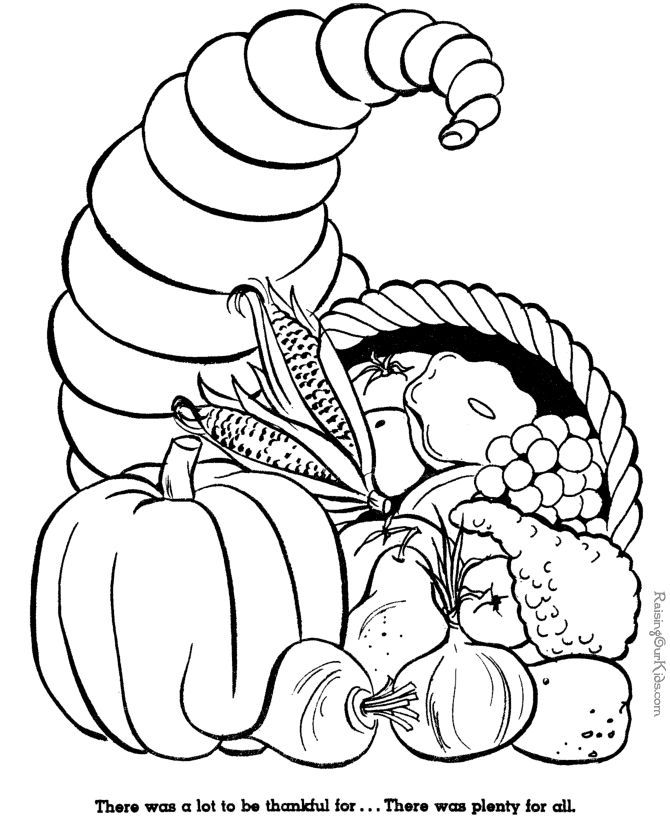 Free Printable Coloring Pages | Printable Cornucopia coloring page 007