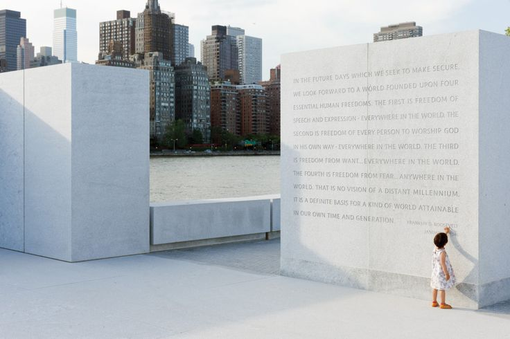 Text from FDR's Four Freedoms speech delivered to Congress on January 6, 1941 — which highlighted the Four Freedoms: Freedom of Speech and Expression, Freedom of Worship, Freedom from Want and Freedom from Fear — is carved into a pair of 6- x 6- x 12-inch-high granite columns, which also form the backdrop of the sculpture. Photo Credit: Franklin D. Roosevelt for Freedoms Park, ©️️ Iwan Baan