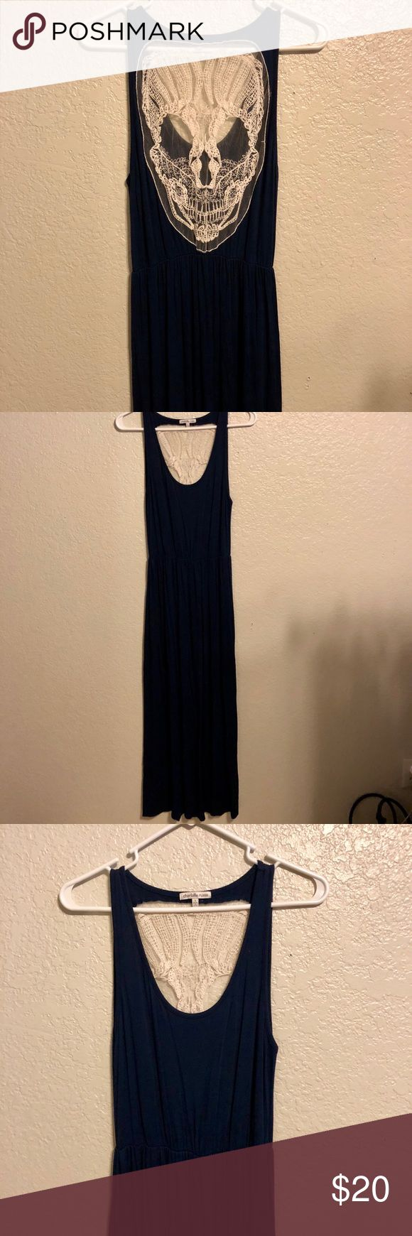 Charlotte Russe Maxi-Dress Super stylish maxi-dress from Charlotte Russe! This dress is navy blue with a very detailed skull on the back. Where skull is located has a netting-like back making it see-through. Super cute and breezy for the spring & summer. Size S but could also fit a M. Perfect condition. No flaws. Charlotte Russe Dresses Maxi