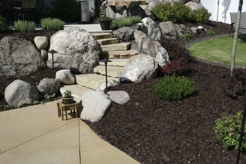 landscaping with large rocks images - Google Search dark mulch
