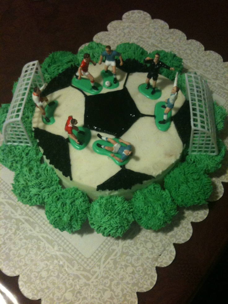 """Soccer Cake  10"""" round cake for soccer ball  regular size cup cakes for grass"""