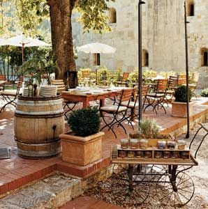 Restaurant patio/ love using the barel top to serve from.