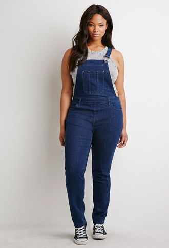 Plus size, indigo classic denim overalls, Forever 21 --- I've been skeptical of this trend due to the fact that I wore them in my teens, in a not so fashionable way but I've been seeing so many cute ways to style them, I may have to try a pair on.