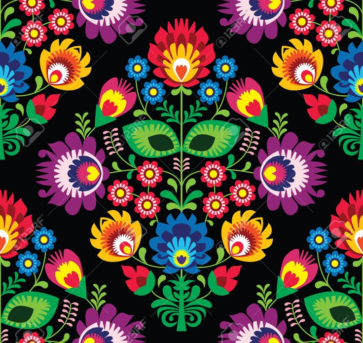 Seamless traditional floral Polish pattern on black Stock Vector