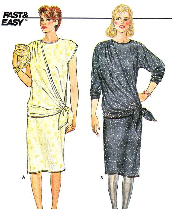 1980s Dress Pattern Butterick 6688 Drop Waist Long by paneenjerez, $10.00