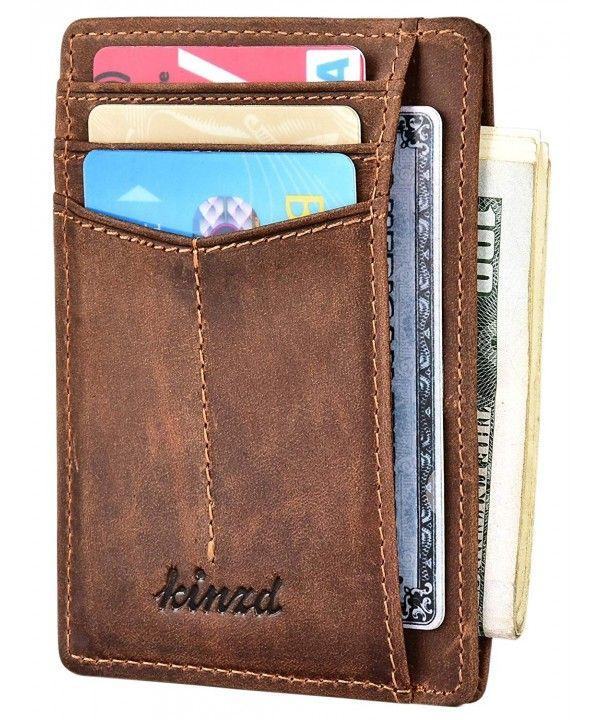 Men/'s Wallet Leather Credit Card Holder RFID Blocking Zipper Thin Fashion Pocket