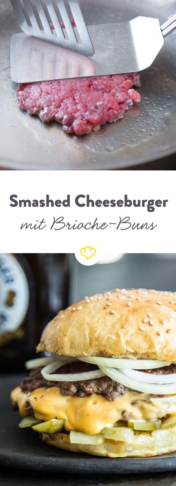 Smashed-Cheeseburger - Mit Brioche Buns