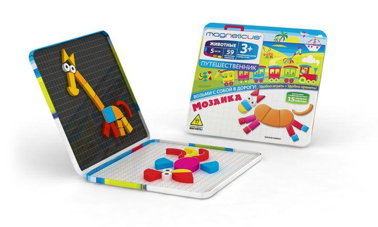 """Возьми с собой с дорогу набор магнитной мозаики """"Животные"""". Крупные фигурные элементы разработаны специально для детей от 3 лет. Металлическая коробка является одновременно как полем для игры, так и местом для хранения элементов.  В набор входит буклет с примерами картинок."""