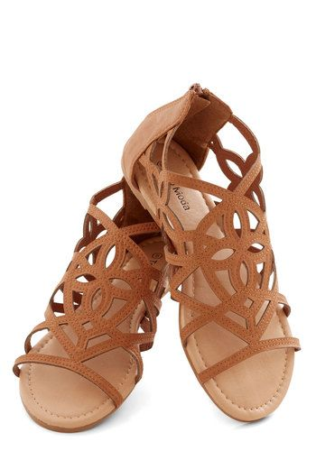 Island In the Sunshine Sandal - Faux Leather, Flat, Tan, Cutout, Beach/Resort, Summer, Good
