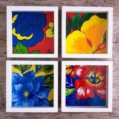 Duo quadros - Flores de Chita | casame - arte e decoração | Elo7