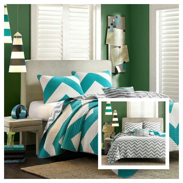 Gray White and Aqua Chevron Pattern Reversible Quilt Set
