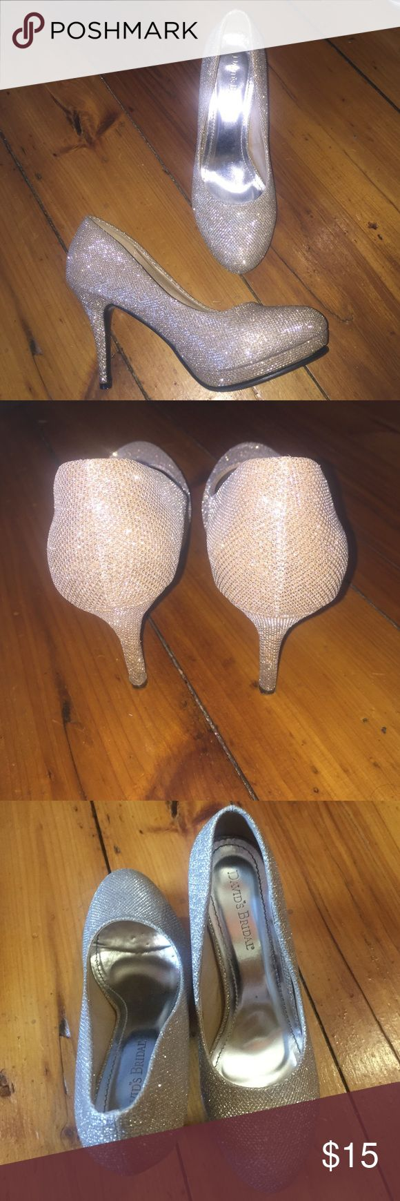 Champagne Prom Wedding Homecoming Heels Worn twice, so they are in excellent condition! David's Bridal Shoes Heels