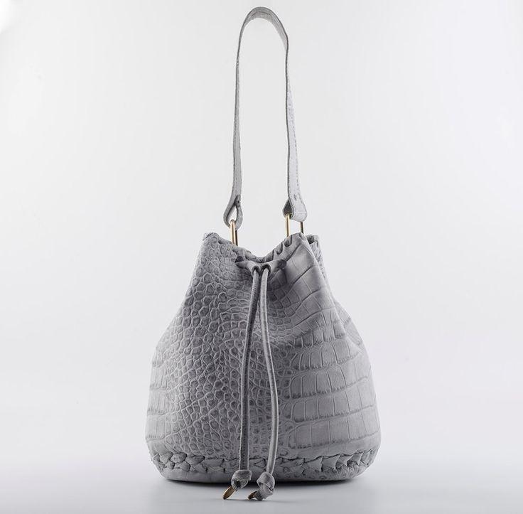 Bucket bag in Grey Crocodile effect Leather - Pouch - Shoulder Bag - Drawstring Pouch -Handmade Bucket Bag by EleannaKatsira on Etsy