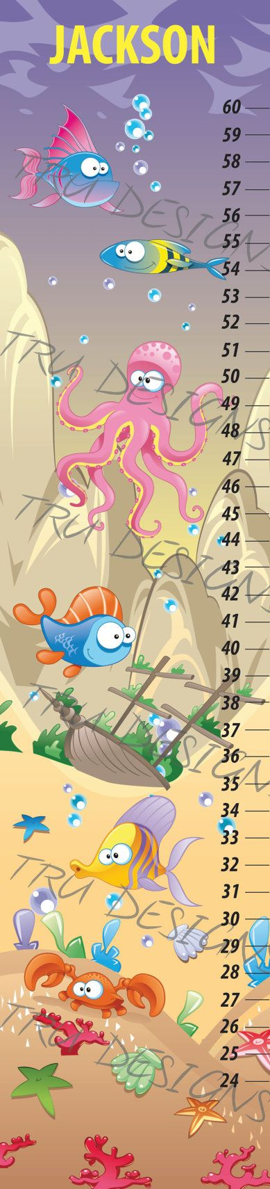 Pirate Ship Sea Creatures Kids Growth Chart made in canada on Etsy, $35.00 CAD