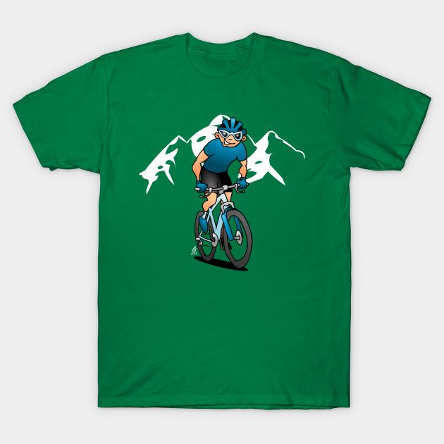 MTB - Mountain biker in the mountains T-shirt.    #MTB #Tshirt #Teepublic #Cardvibes #Tekenaartje #NEW