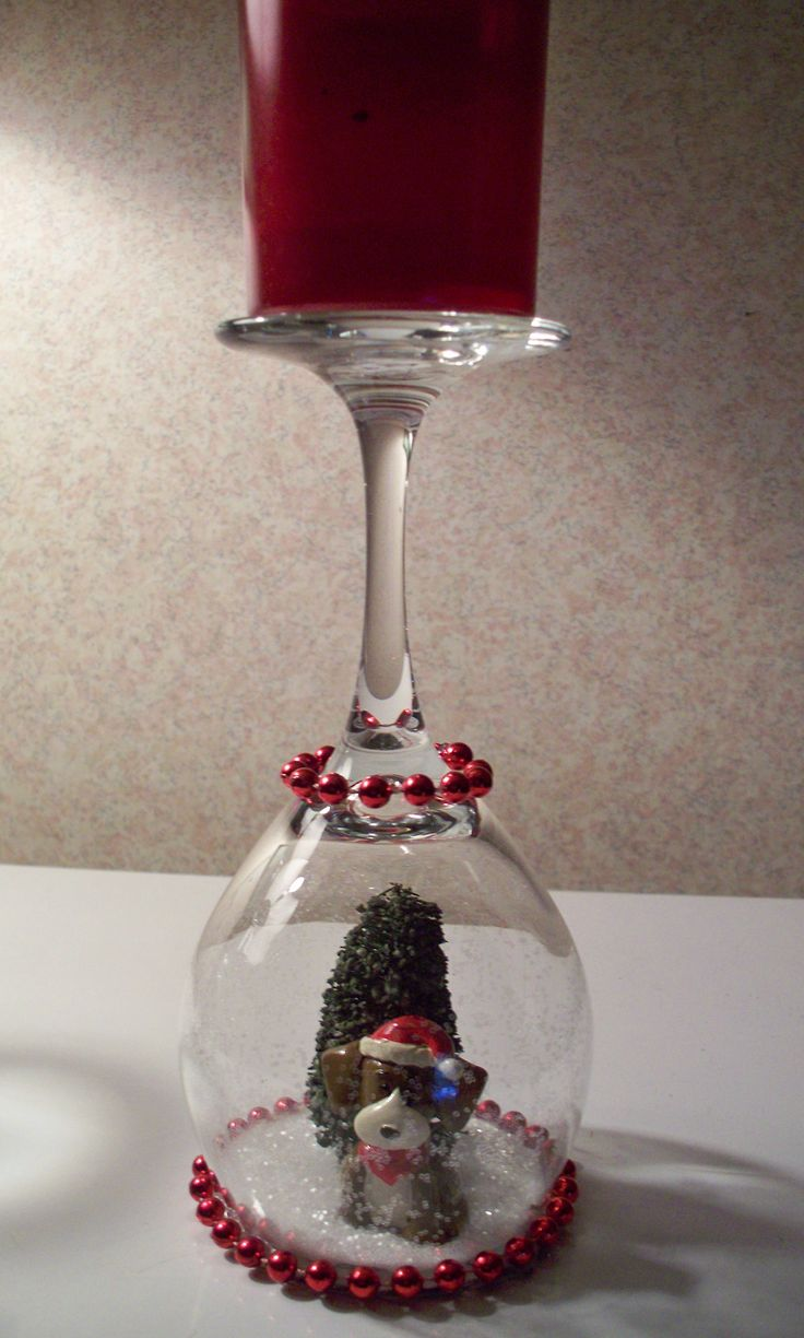 Wine glass candle holder w puppy christmas pinterest for How to make christmas candle holders