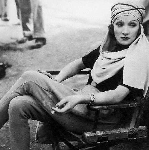 "Marlene Dietrich on the set of ""The Garden of Allah"" (1936)"