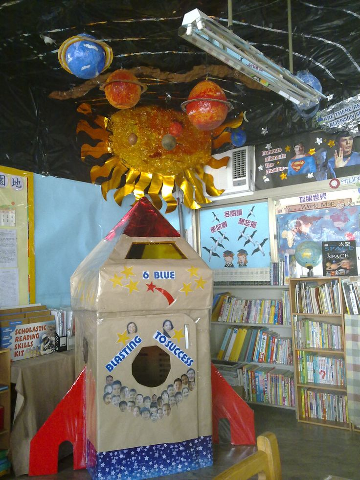"Space-themed classroom.... check out the border: ""Famous Aliens in the movies"" and it includes Superman and Spock! Ha!     http://mrschen6blue.edublogs.org/files/2011/09/090920113439-1d5wiia.jpg"
