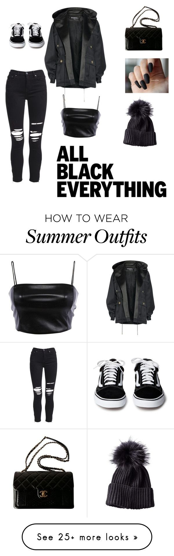 """""""All black"""" by nina1000 on Polyvore featuring Balmain, AMIRI, Chanel and allblackoutfit"""